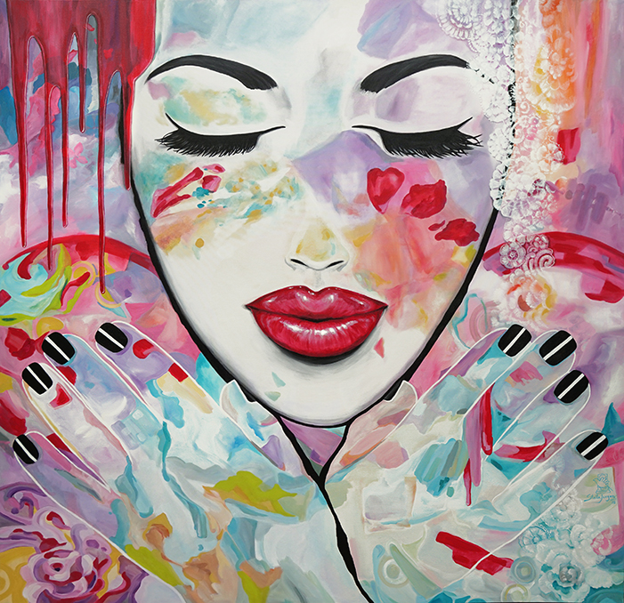 """Kissed by Life"" - Part of the Kissed Collection - 60"" x 60"" - acrylic on canvas.  Inquire to purchase."