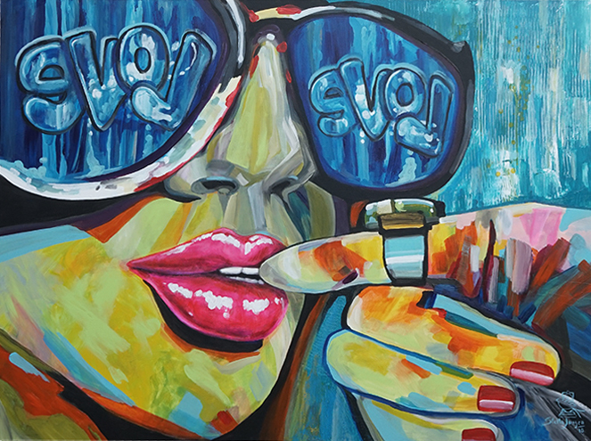 """Kissed by Love"" - part of the Kissed Collection - 48"" x 36"" acrylic on canvas.  Inquire to purchase."