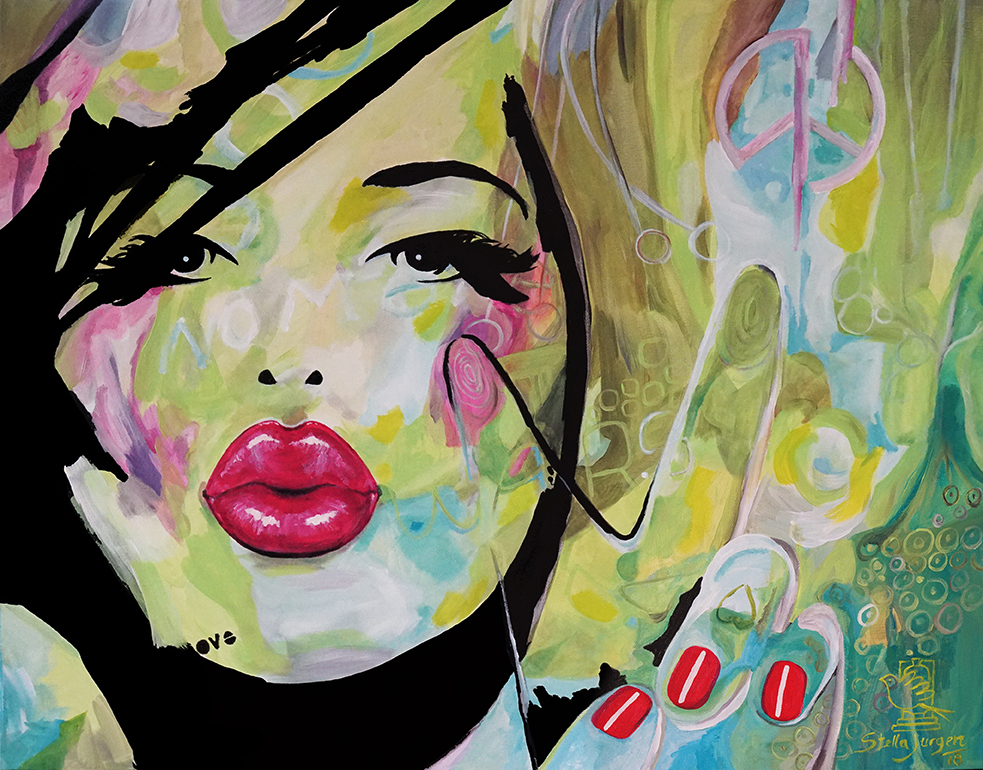 """Kissed by Peace"" - Part of the Kissed Collection - 30"" x 24"" - acrylic on canvas.  Inquire to purchase."