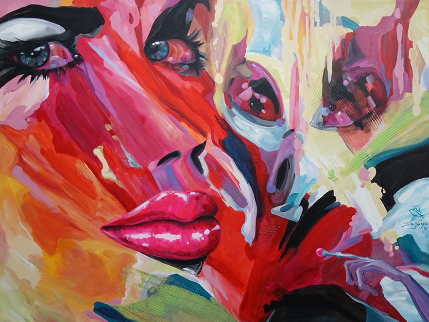 "Kissed by an Alien (Part of the Kissed collection). 48"" x 36"" acrylic on canvas.  Inquire to purchase."