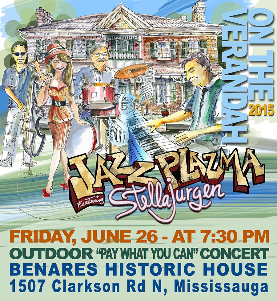 Benares Historic House, Jazz Plazma, Stella Jurgen, jazz quartet, jazz singer, outdoor summer event