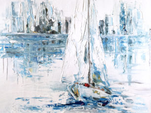 Sailing boat painting, boat on the water