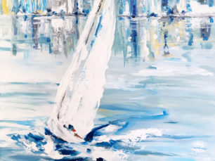sailboat painting, sailing with a breeze