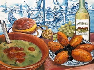 Portuguese traditional gastronomy, Caldo Verde painting