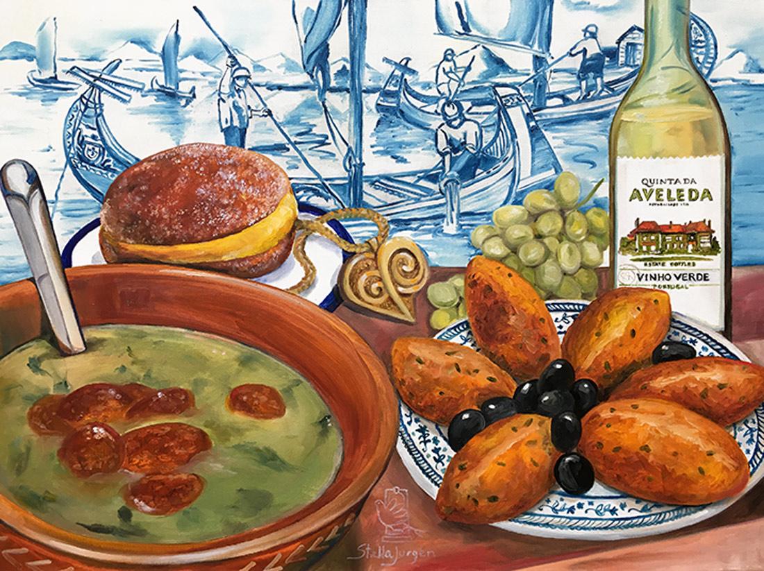 Portuguese traditional gastronomy, Caldo Verde painting
