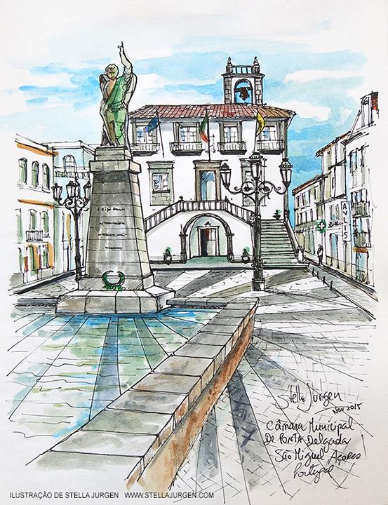Urban Sketch, Azores, Ponta Delgada, Illustration