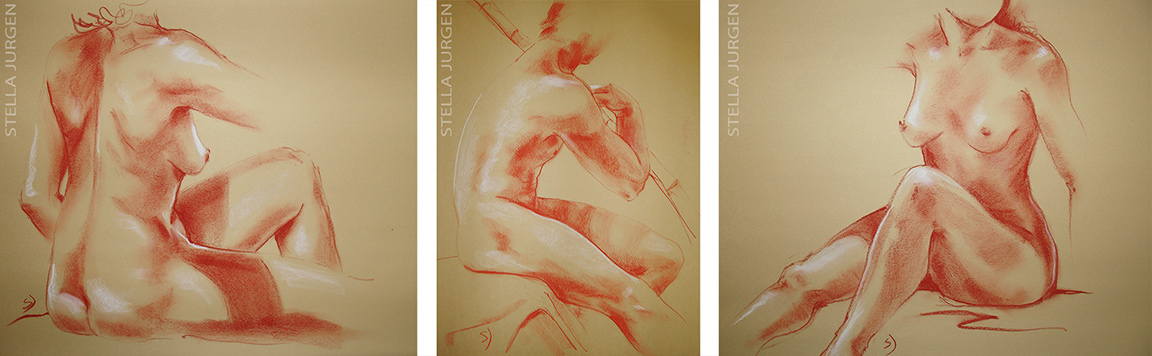 figurative expressions, nudes in chaulk, nude models, chaulk drawings, nude portraits