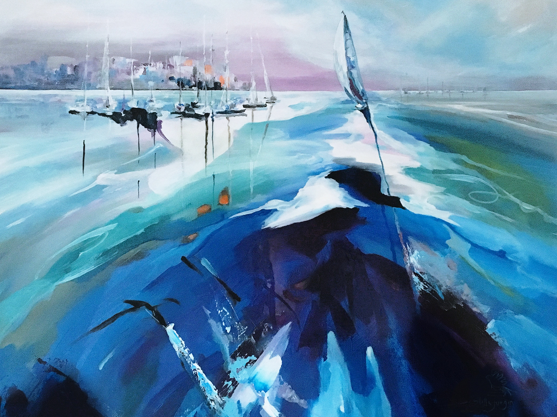 Sailboat painting, blue painting, water splashes painting,