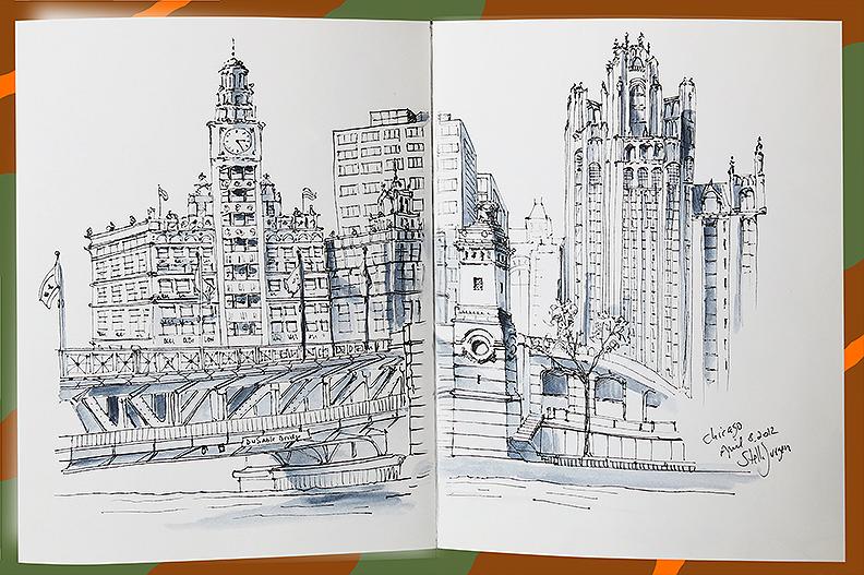 Urban Sketch Chicago Bridge, Stella Jurgen urban sketcher