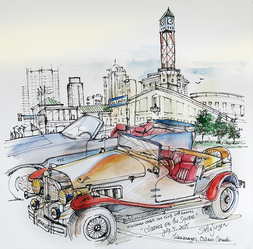 "sketch of ""Classics on the Square"", Mississauga City Hall"