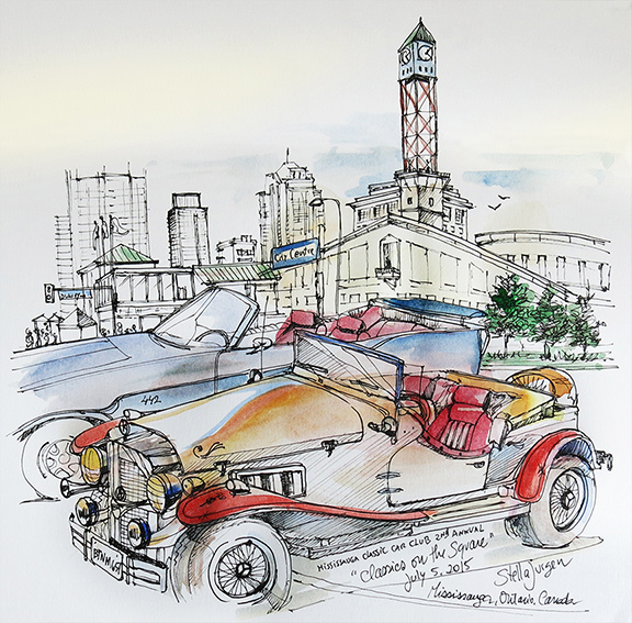 Urban sketch - Classic Car show Mississauga