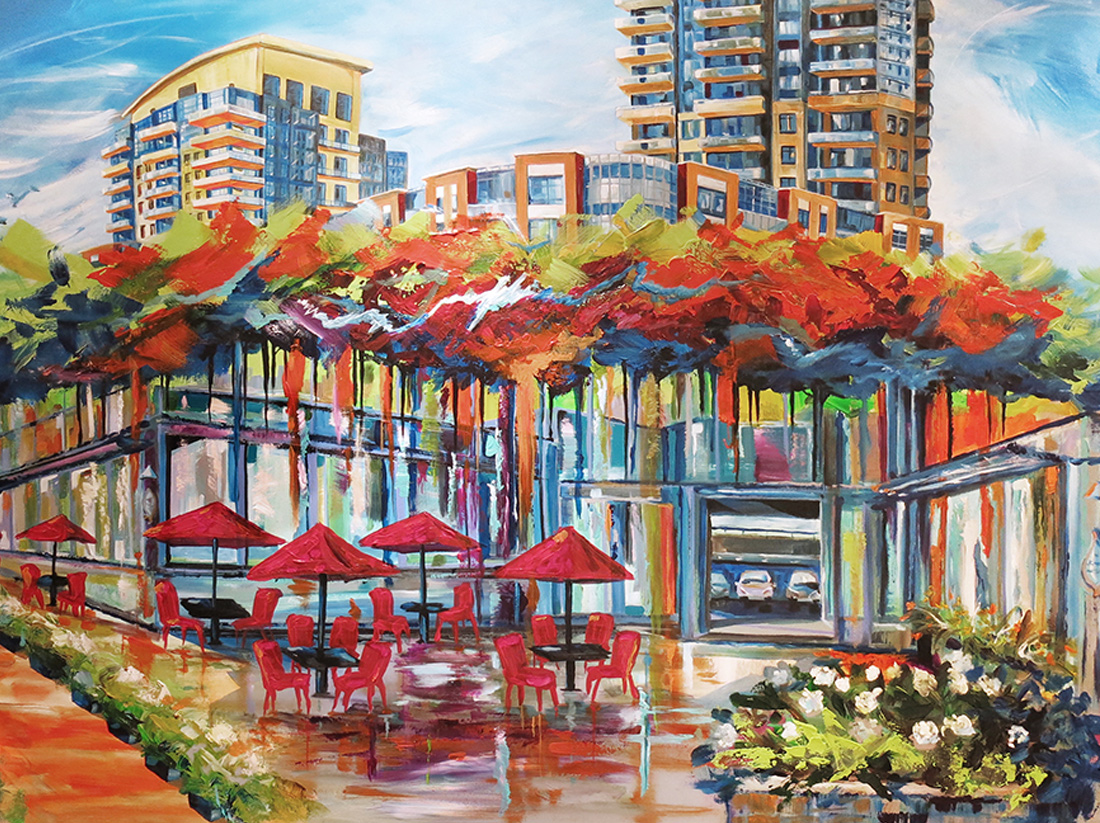 Pianosi Development Corporation, Perspective Condos, commissioned art, urban painting, abstract, coffee shop painting