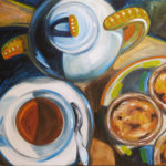 tea and custards, pasteis de nata painting