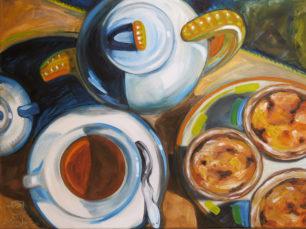 tea and custards, pasteis de nata painting