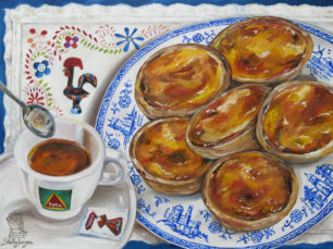 Portuguese traditional pastry, bica, espresso painting