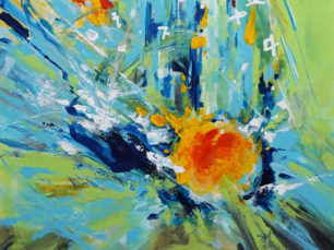 Exploding egg, microwave egg, abstract egg painting