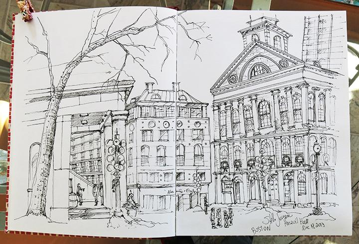 sketch Faneuil Hall, Boston, urban sketch, urban sketcher
