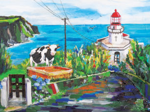 Sao Miguel, Farol do Arnel, Azores, Portugal painting