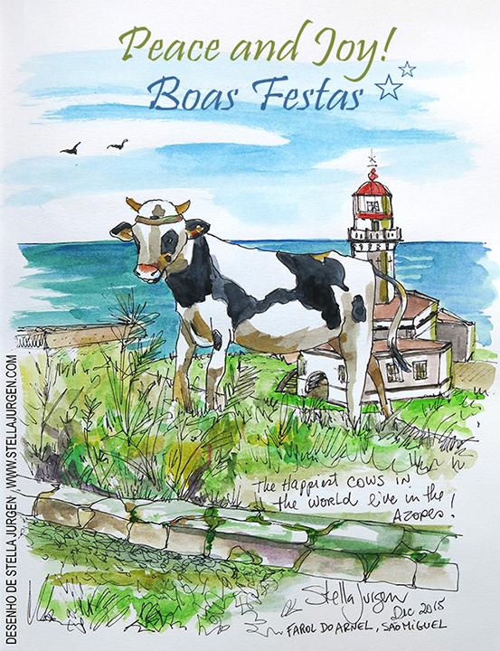 Illustration, Farol do Arnel, Sao Miguel, Ponta Delgada, Azores, caw sketch