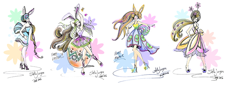 Easter illustrations, fashion