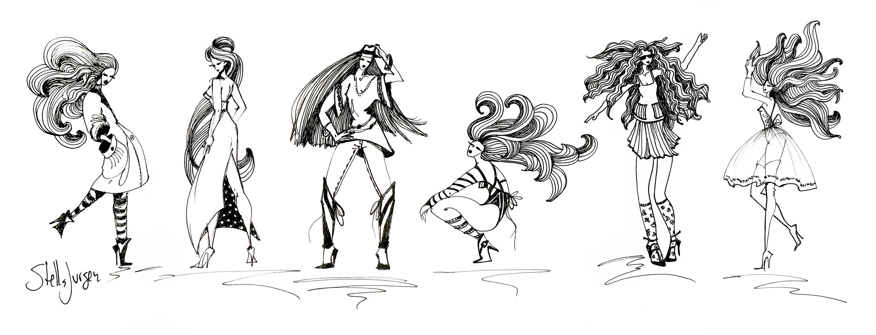 Stella Jurgen Fashion sketches