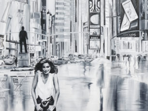 Gia Carangi painting, black and white city scape, New York City