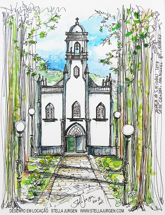 Urban Sketch, church drawing, Azores, Sao Nicolau