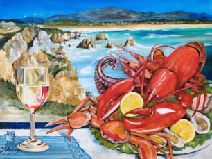 Portugal, Algarve, Seafood painting, lobster painting, Portuguese landscape painting