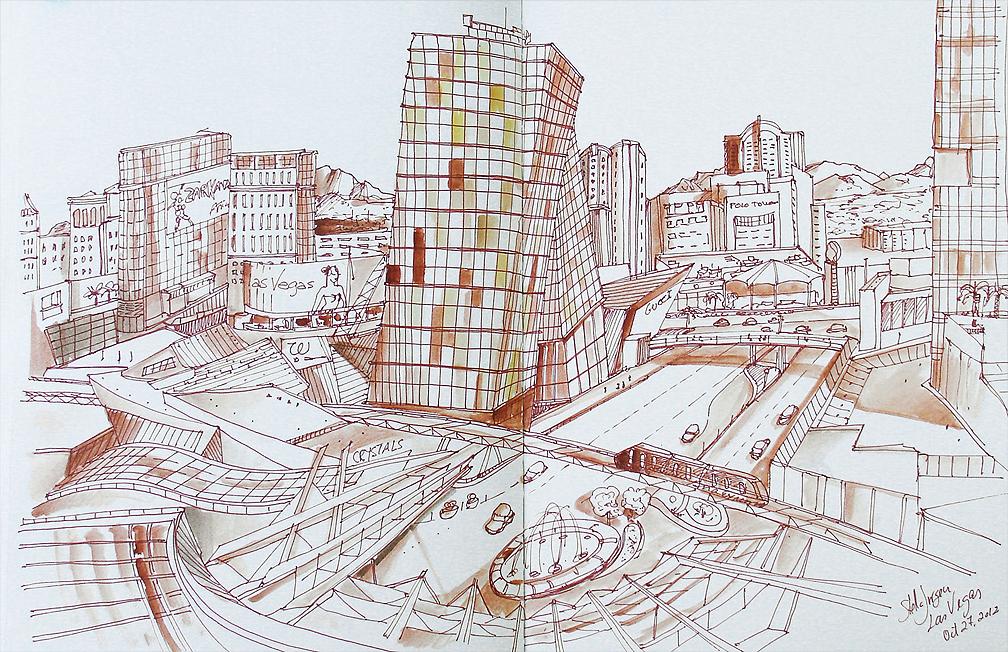 urban sketch Aria Hotel, Stella Jurgen urban sketcher