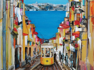 Enchanted Lisbon - painting of Lisbon, Portugal