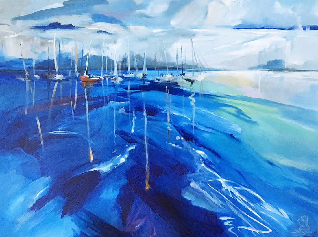 Sailing painting, resting, peaceful painting, boats on the water
