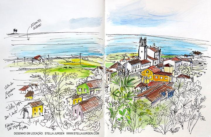 Urban Sketch, Miradouro, Feitieiras, Azores, Portugal