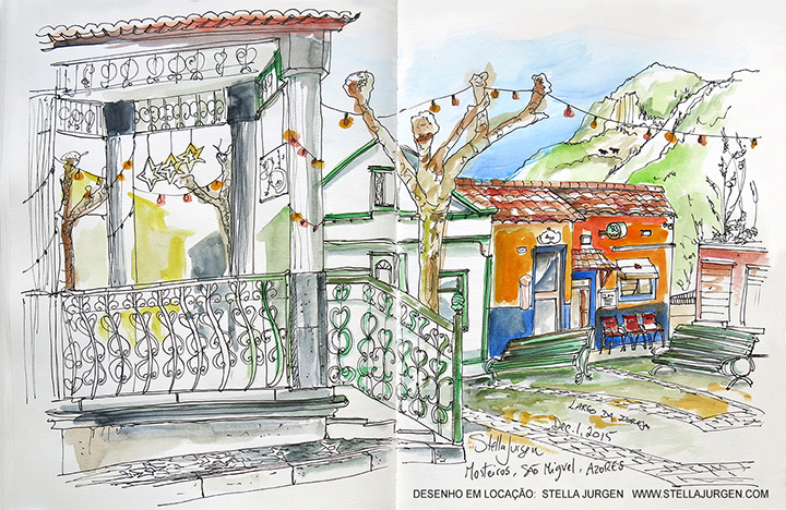 Urban Sketch, Mosteiros, Azores, Portugal