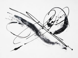 Happy moment, abstract jolly painting, black and white art