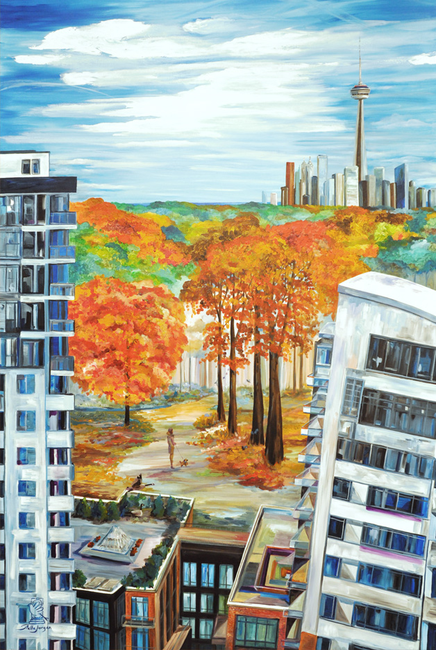 Pianosi Development Corporation,Perspective condos, urban painting, abstract, commissioned collection