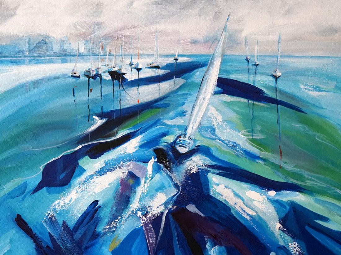 Lake Ontario landscape, Toronto landscape, sailing paintings, Stella Jurgen