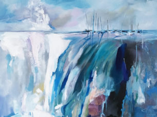 boats painting, waterfall painting