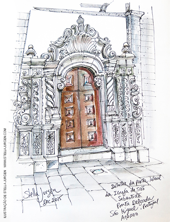 Urban Sketch, church, Sao Sebastiao, Ponta Delgada, Portugal