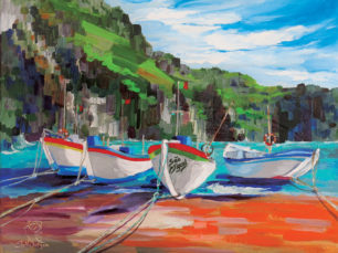 Azores, Portugal, boats on dock, Sao Miguel, Caloura, port of Caloura