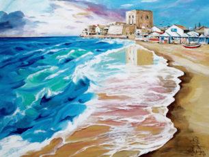 Pozzallo Beach, Italian beach, Pozzallo painting