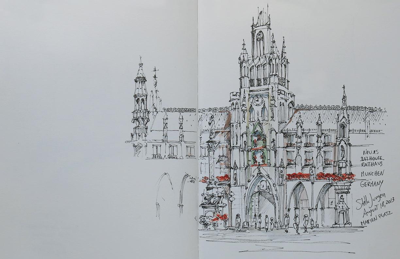 Stella Jurgen urban sketcher, urban sketch Rathaus Munchen