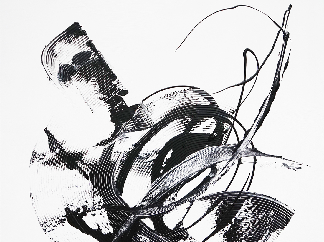 robot painting, black and white painting, abstract black and white