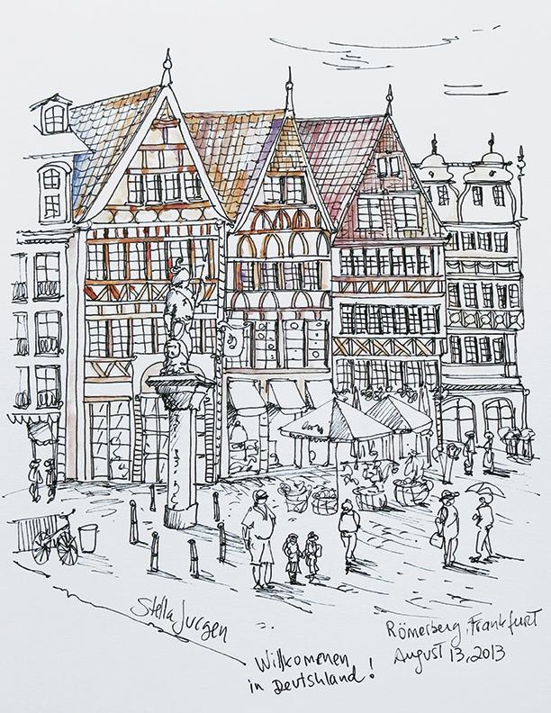 Stella Jurgen urban sketcher, sketch Romerberg