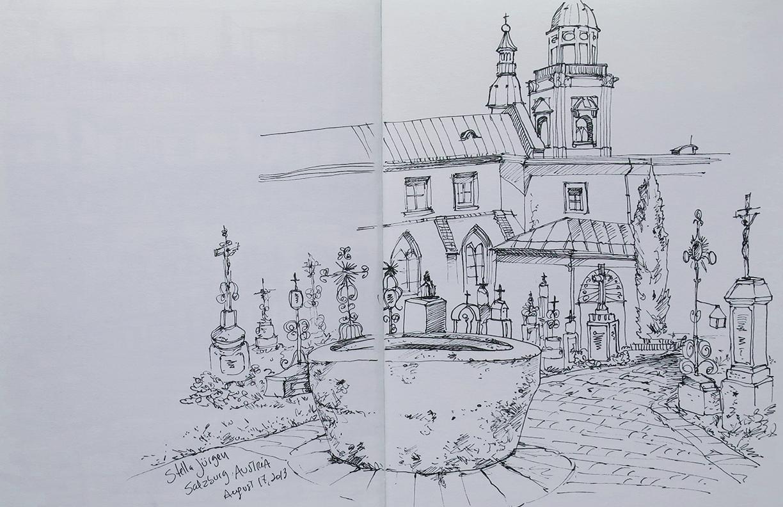 sketch Salzburg Austria, Stella Jurgen urban sketches