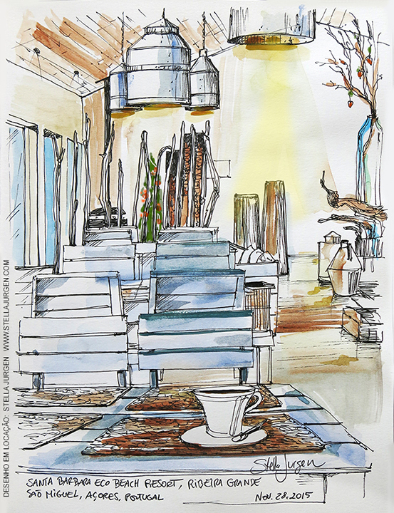 Urban Sketch, Santa Barbara Resort, Azores, Portugal