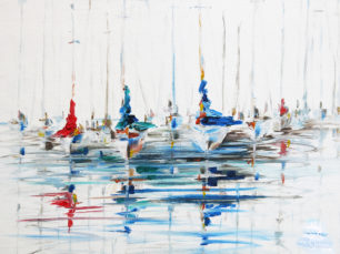 sailing boats, still on the water, sailing painting