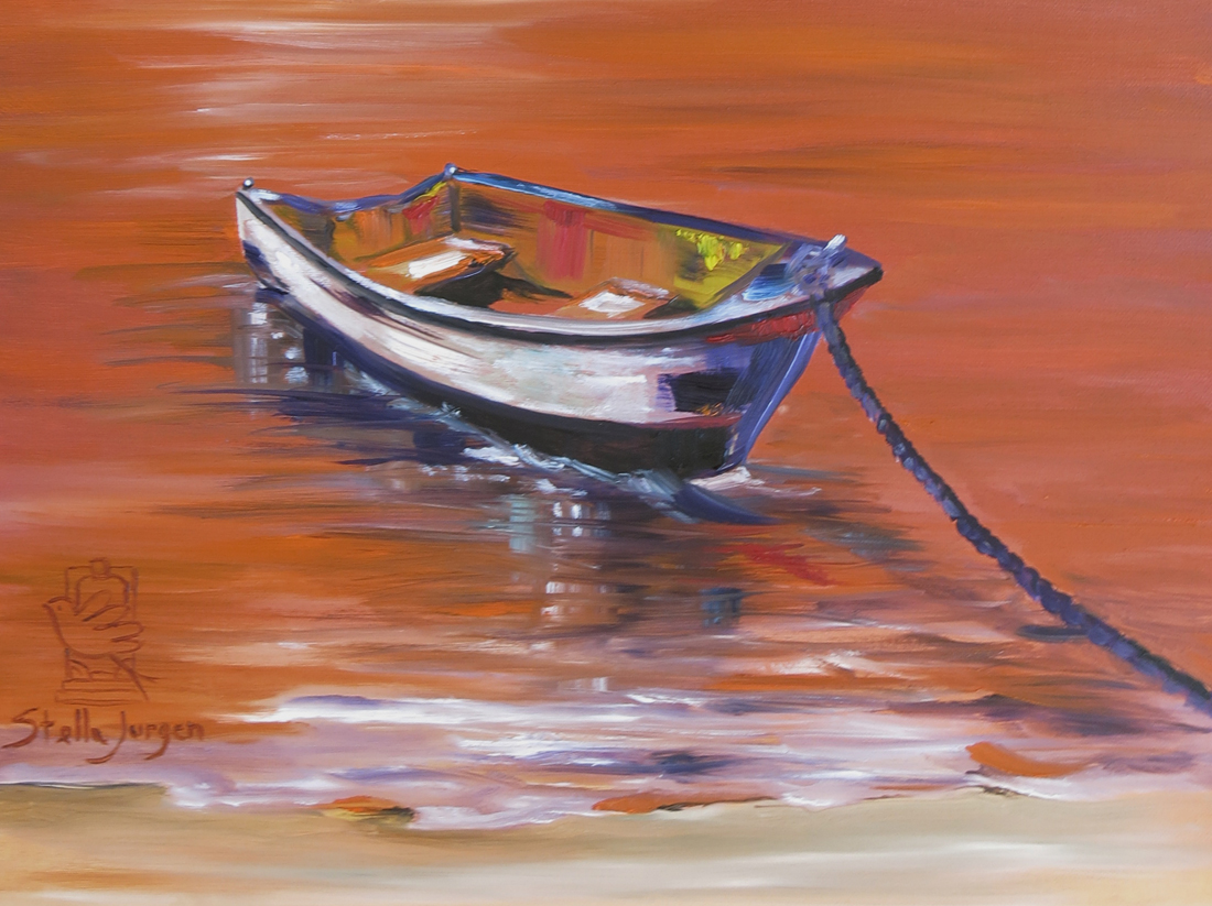 surreal boat on water, painting, orange water painting with boat