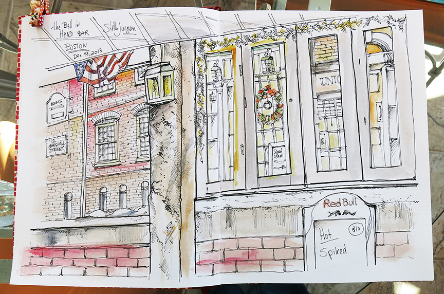 sketch Bell in Hand bar, Boston, Massachusetts, urban sketch Boston