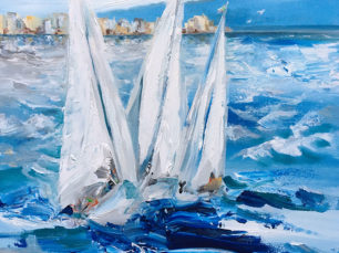 sailboats, rough water painting