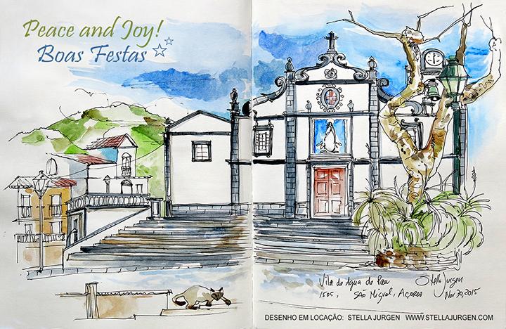 Urban Sketch, church, Sao Miguel